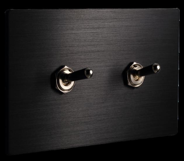 古典系列金屬黑/二開關蓋板組 2